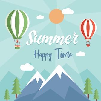 Fondo plano de verano feliz con espacio de texto. vista de la naturaleza con globos de aire, montañas y árboles.