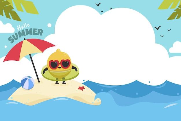 Fondo plano de verano Vector Premium