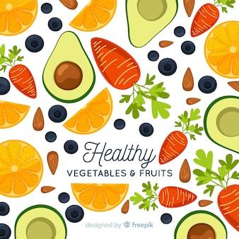 Fondo plano de verduras y frutas