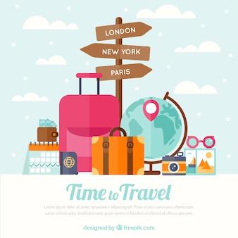 Fondo plano de viaje