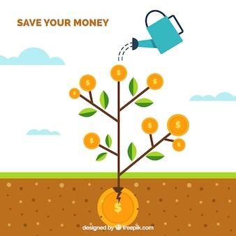 Fondo de planta con monedas en diseño plano
