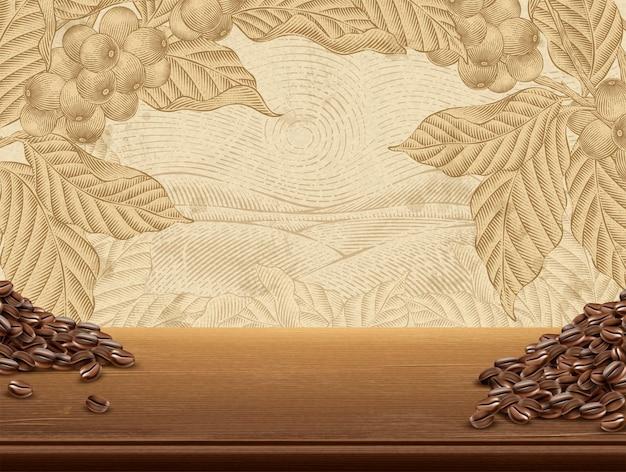 Fondo de plantas de café retro, mesa de madera realista y granos de café en la ilustración, paisaje de campo en estilo de sombreado grabado