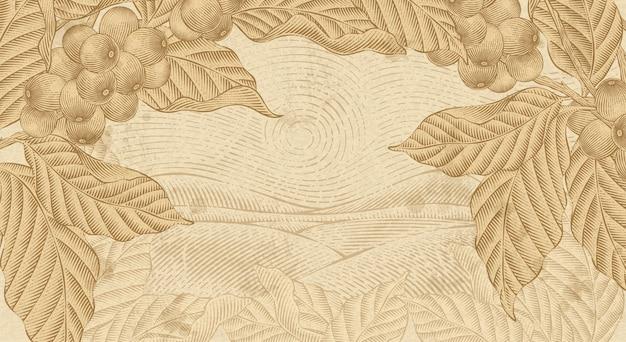Fondo de plantas de café retro, plantas con paisaje de campo en estilo de dibujo de tinta y sombreado de grabado