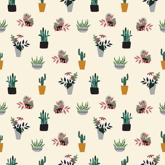 Fondo de plantas en maceta dibujadas a mano sin costura