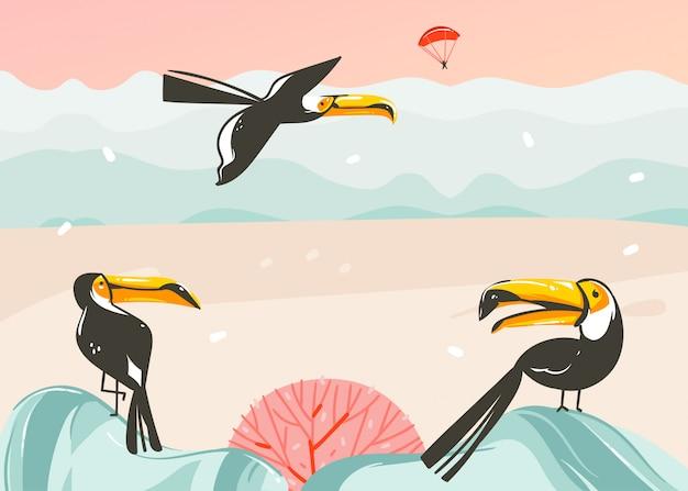 Fondo de plantilla de arte de ilustraciones gráficas de horario de verano de dibujos animados abstractos dibujados a mano con paisaje de playa oceánica, puesta de sol rosa, pájaros tucán tropicales y lugar de espacio de copia para su texto