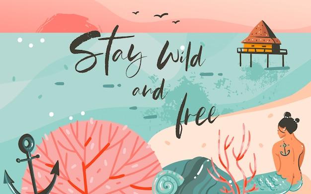Fondo de plantilla de arte de ilustraciones gráficas de horario de verano de dibujos animados abstractos dibujados a mano con paisaje de playa oceánica, puesta de sol rosa y sirena de niña de belleza con cita de tipografía stay wild and free