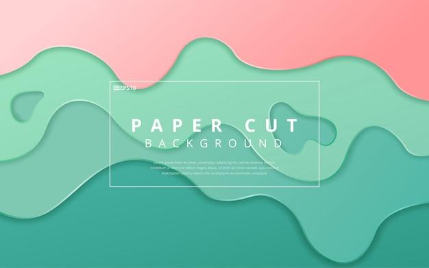 Fondo de plantilla de banner de onda elegante colorido papercut. ilustración