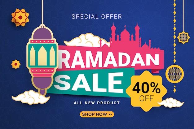 Fondo de plantilla de banner de venta de ramadán