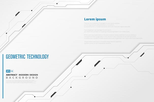 Fondo de plantilla blanca abstracta tecnología moderna