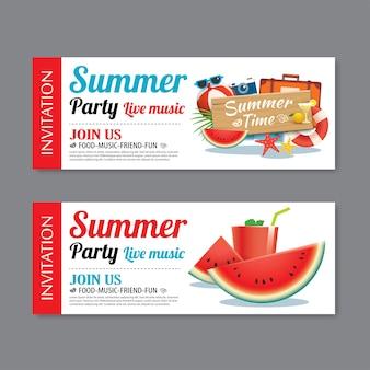 Fondo de plantilla de boleto de invitación de fiesta de piscina de verano