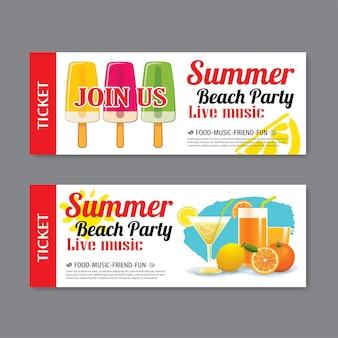 Fondo de plantilla de boleto de invitación de fiesta de playa de verano