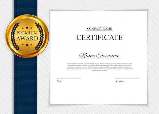 Fondo de plantilla de certificado. diseño de diploma de premio en blanco. ilustración vectorial