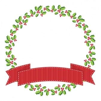 Fondo de plantilla de corona navideña