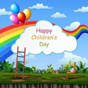 Fondo de plantilla de día de los niños felices con la naturaleza