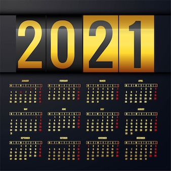 Fondo de plantilla de diseño de calendario dorado 2021
