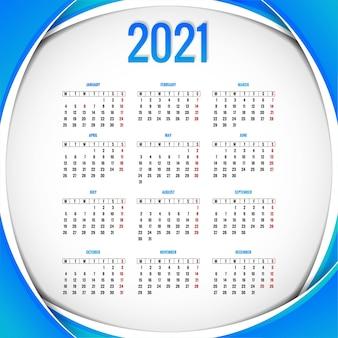 Fondo de plantilla de diseño de calendario moderno 2021