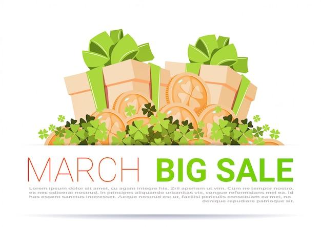 Fondo de plantilla de gran venta de marzo feliz día de san patricio descuento de vacaciones