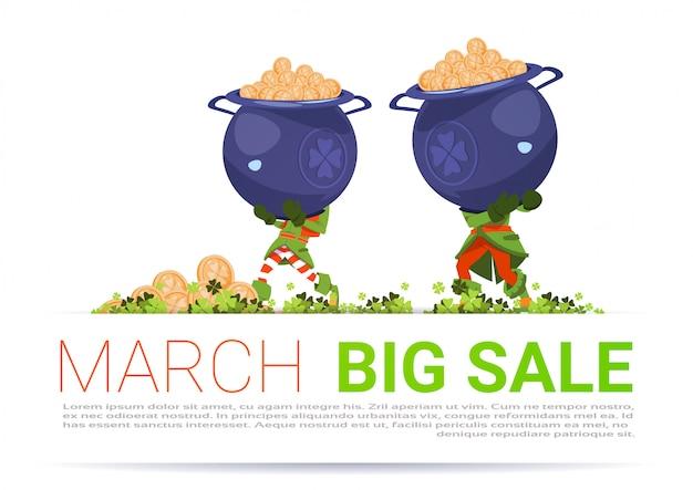 Fondo de plantilla de gran venta de marzo de happy st. patricks day descuento de marzo