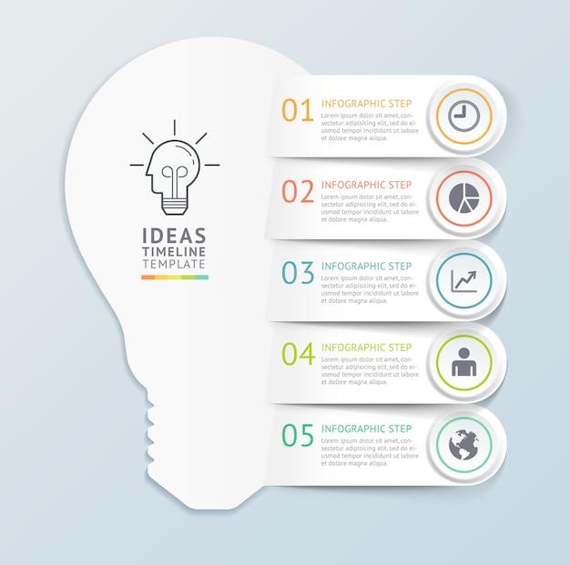 Fondo de plantilla de infografías de ideas de negocios