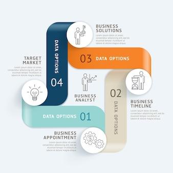 Fondo de plantilla de línea de tiempo de infografías de negocios