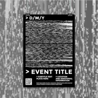 Fondo de plantilla de maqueta de cartel de ruido de interferencia de arte de falla digital abstracta en escala de grises