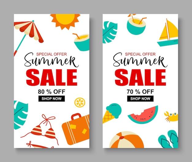 Fondo de plantilla de portada de banner de venta de verano. oferta especial de descuento de verano diseño lindo.