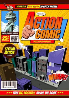Fondo de plantilla de portada cómica, folleto folleto.