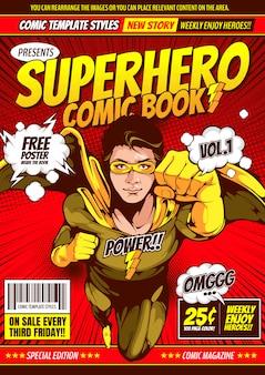Fondo de plantilla de portada cómica de superhéroe.