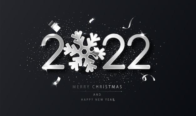 Fondo de plata 2022 feliz año nuevo con copo de nieve. fondo de año nuevo negro con deseos. plantilla para tarjeta de diseño de vacaciones, banner.