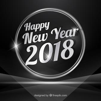 Fondo plateado de año nuevo 2018
