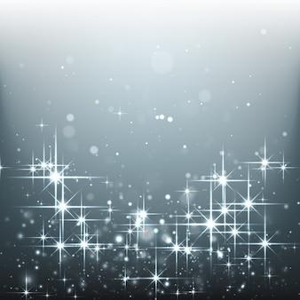 Fondo plateado de estrellas brillantes