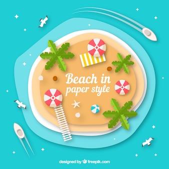 Fondo de playa desde arriba en estilo de papel