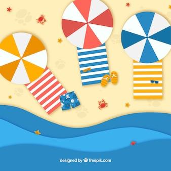 Fondo de playa desde arriba en textura de papel