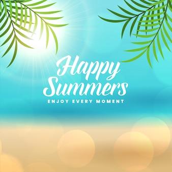 Fondo de playa feliz vacaciones de verano