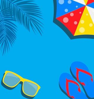Fondo de playa con ilustración de flip flop, palma, paraguas y gafas