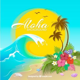 Fondo de playa con ola y palmeras