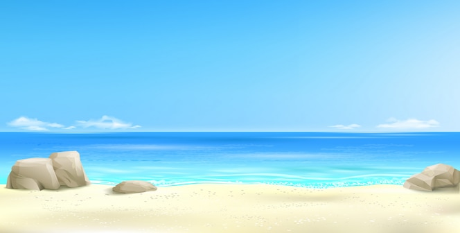 Fondo de playa tropical amplia