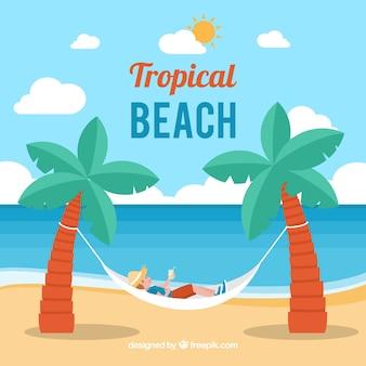Fondo de playa tropical con hamaca