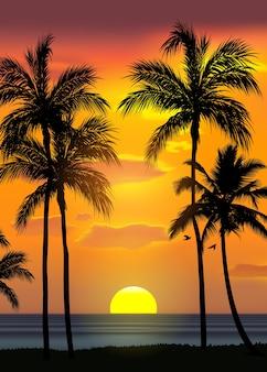 Fondo de playa tropical de verano con palmeras