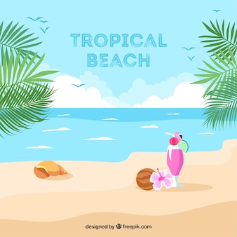 Fondo de playa tropical