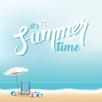 Fondo de playa de verano con espacio para textos