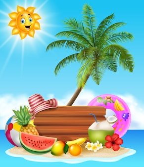 Fondo de playa de verano con frutas tropicales