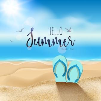 Fondo de playa de verano con sandalias