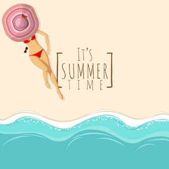 Fondo de playa vista superior con mujer sexy en bikini rojo