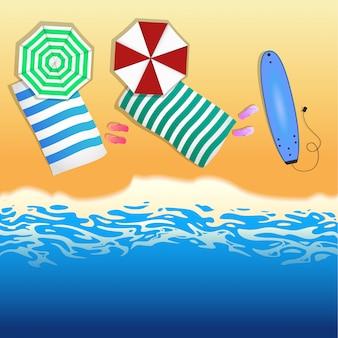 Fondo de playa vista superior con sombrillas, tabla de surf. concepto de verano