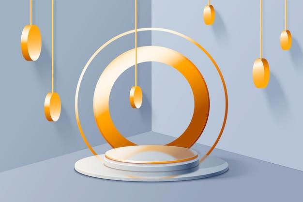 Fondo de podio 3d con elementos dorados