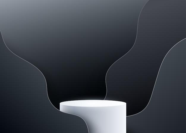 Fondo de podio 3d con formas líquidas de onda negra.