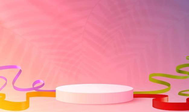 Fondo de podio de cilindro de escena abstracta con presentación de producto de confeti y cintas