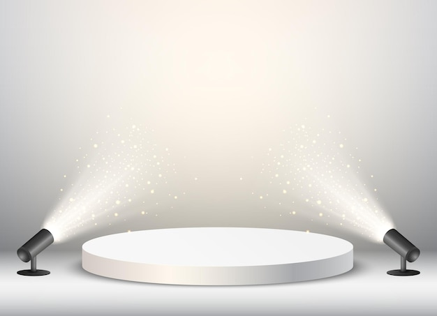 Fondo de podio vacío con confeti dorado y luz