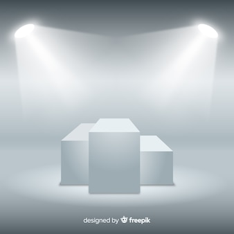 Fondo de podium con luces en habitación blanca